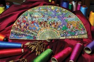 Lace bobbin lace fan made in silk.